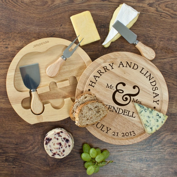 Couples Romantic Round Cheese Board with Knives
