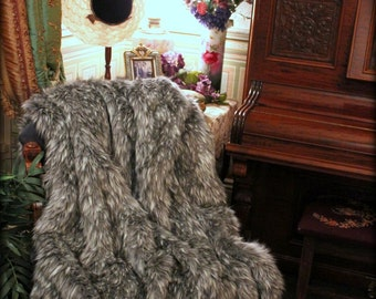 Luxurious Faux Fur Throw  Blanket - Gray Spotted Lynx - Backed with Softest Minky Cuddle Fur - Fur accents Original Designs - USA