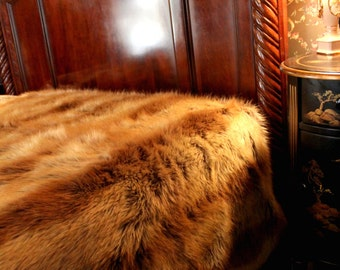 FUR ACCENTS Faux Fur Bedspread / Comforter /  Tan Caramel and Brown Stripe