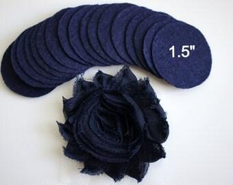"""25 Navy Blue Felt 1.5"""" Circles - 1.5"""" Felt Circles - Flower Backing - Navy Blue Felt Circles"""
