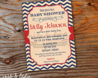 Vintage Americana Baby Shower Digital Invitation