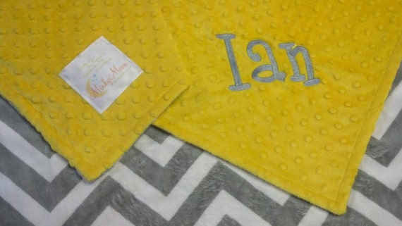 FREE SHIPPING Personalized Baby Blanket with Gray and White Chevron Zig Zags, you choose colors and minky or satin back.