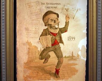 Antikamnia Calendar Skeleton Illustration Newsie Extra Newspaper Art Print- Vintage Art Print on Tea Stained Paper