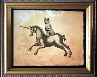 Sandcat Cat Riding Unicorn- Vintage Collage Art Print on Tea Stained Paper - Vintage Art Print - Vintage Paper