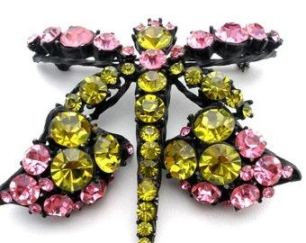 Dragonfly Brooch And Earrings Set, Pink Green Rhinestone, Demi Set, Vintage Jewelry Set, Rhinestone Brooches, Figural Jewellery