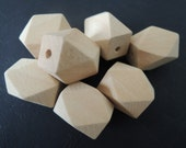 20Pcs 26x20mm  Oblong Unfinished Faceted Natural Wood Beads   (W578)
