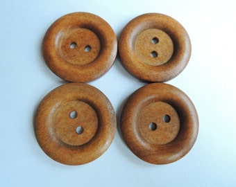 10pcs  35mm Brown Coffee Wood button 2  holes( W756)