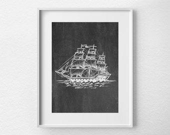 Pirate Ship Art, Sailing Print, Nautical Print, Nautical Art Print, Chalkboard Art Print, Nautical Print, Office Decor