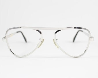 80s Vintage Eyeglass Frame | Silver Rhodium Glasses | NOS 1980s Aviator Eyeglasses  - Rhodium