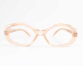 Vintage 1960s Translucent Peach Geometric Oval Eyeglass Frame