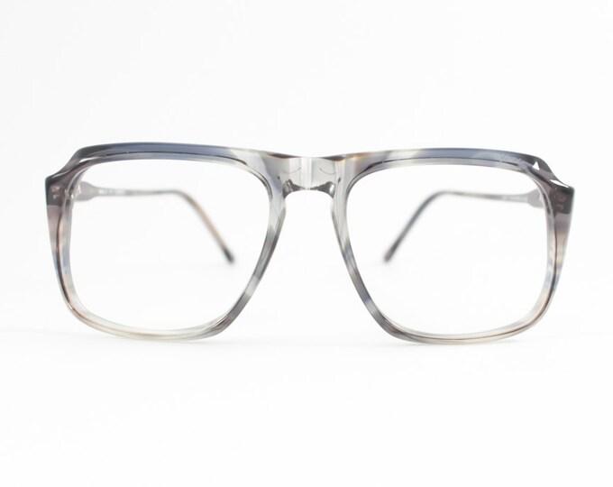 80s Vintage Glasses | Clear Grey NOS Eyeglass Frame | 1980s Aviator Style Eyeglasses - Peninsula Smoke