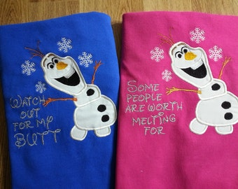 Adult  T-shirt with Olaf from Frozen with Embroidery added