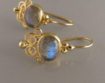 Fine Jewelry earring , 14k Gold Gemstone Earrings , 14 K Gold Earrings , Solid Gold Earring , Dangle 14k Gold Earrings , Labradorit Earring