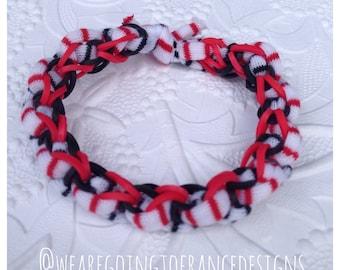 Original Rainbow Loom Yarn Bracelet Style #2 - Tessa the Ladybug