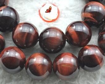 Red Tiger Eye smooth round beads 12mm,32 pcs
