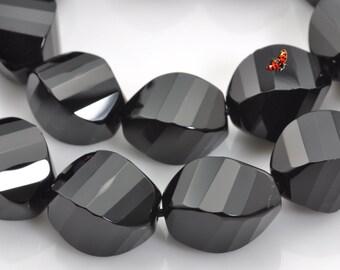 Black Onyx faceted twist beads 10x14mm,28 pcs