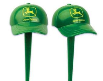 24 Green John Deere Baseball Cap Cupcake Picks Cake Decor Toppers