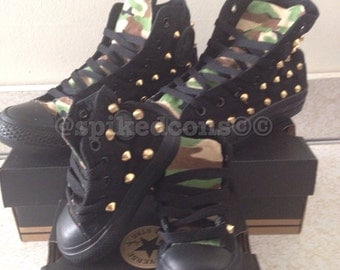 Camo studded converse (adult sizes)