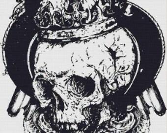 Crowned Skull PDF Cross Stitch Pattern