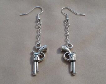 Silver GUN - Dangle Earrings