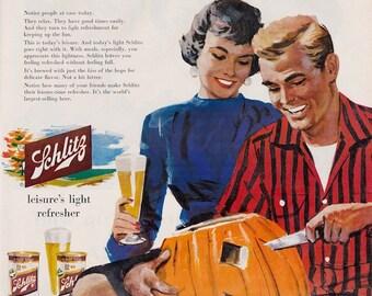 1956 Schlitz Beer Halloween Jack-o-Lantern ad