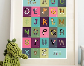 AtoZ 'The little Font Farm' New ABC alphabet print