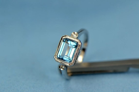Emerald cut 5x7mm Blue Topaz Pave Diamonds 14K White Gold Engagement ring/ wedding Ring/promise ring