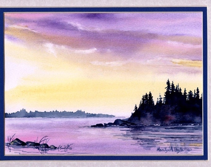 ORIGINAL WATERCOLOR PAINTING; free shipping, scene, nature, wilderness, lake, island, purple color, mauve color, pink, morning, Canadian art