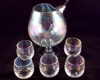 Vintage West Virginia Glass Brandy Snifter Set Glasses Loop Optic Iridescent