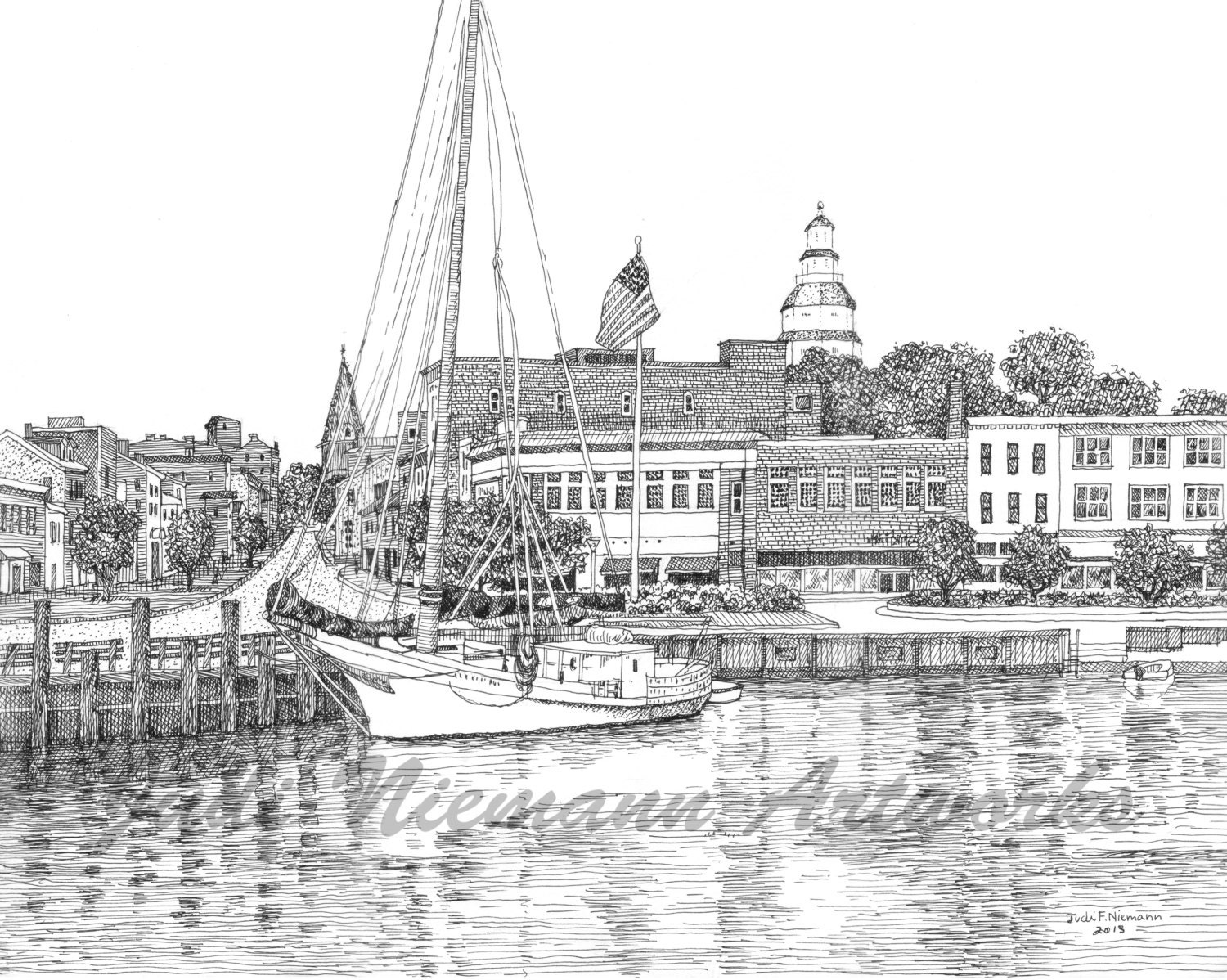 Annapolis harbor artist us naval academy print original ink drawingcity dock