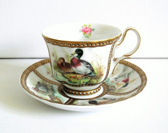 Small mallard duck cup and saucer