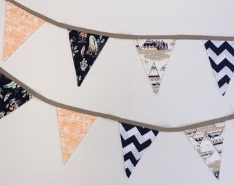 Navy Apricot & Brown Teepee Bunting Flags