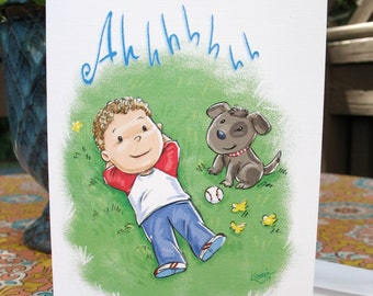 Relaxing in grassy field note card with envelope / blank inside / cute little boy & dog relaxing outside after playing catch