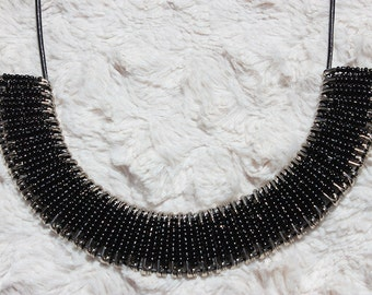 Black and Silver Safety Pin Necklace