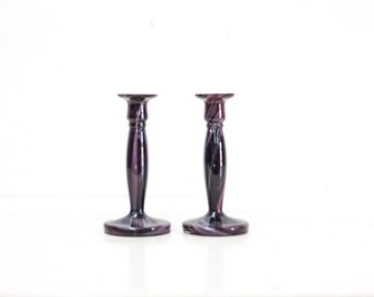 Pair of Purple Hand Blown Glass Candlesticks
