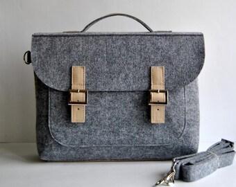"""Sale !! Felt laptop bag 15 """" with leather flap, briefcase 15 MacBook Pro laptop, urban felt bag, Common Laptop Leather Felt bag"""