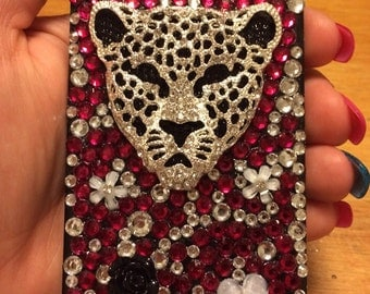 iPhone 5/5S Fuchsia and Clear Rhinestones Petals and Bling Cell Phone Case