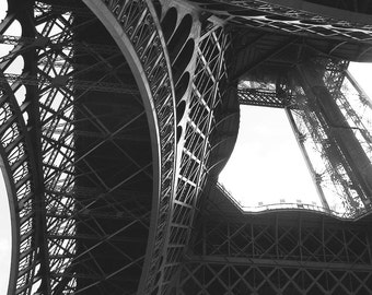 The Eiffel Tower Upskirt View, Paris Photography, Eiffel Tower Photography, Travel Photography, Wall Art, Black and White Photography