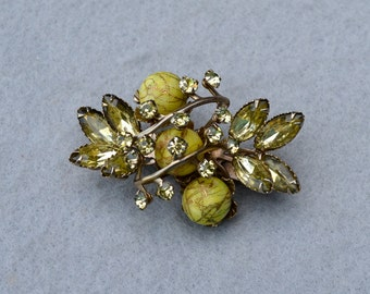 Olive Green Rhinestone & Bead Vintage Brooch