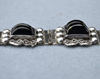 Sterling Silver and Onyx Mexican Bracelet by Far Fan Vintage