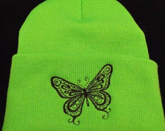 Winter beanie hat butterfly black line work embroidery