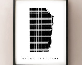 Upper East Side Map - Manhattan, NYC Neighborhood Art Print