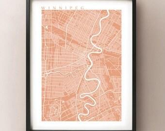 Winnipeg Map Print - Manitoba Poster