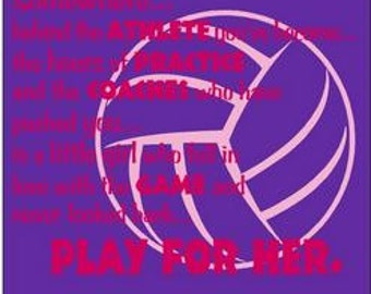 Volleyball Shirt/ Pink Writing Somewhere Behind The Athlete You've Become Little Girl Look Back Play For Her Volleyball Short Sleeve T-Shirt