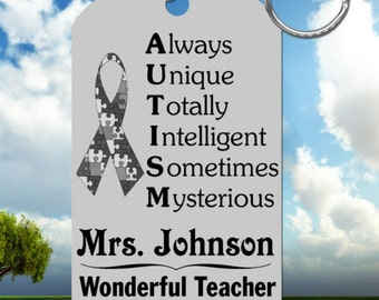 AUTISM TEACHER Keychain, Personalized with their Name, Special Gift!