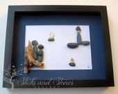 Unique Engagement Gift- Personalized Couple's Gift - Valentine's Day -  Pebble Art - Love Gifts - Nautical Themed Home Decor - SticksnStone