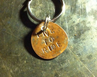 LIVE TO RIDE rail penny keychain