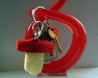 Hand knit miniature sweater two colour key fob key ring key chain various colours