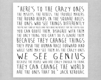 We see genius - Jack Kerouac. Sweet, cute, inspirational, quote card.