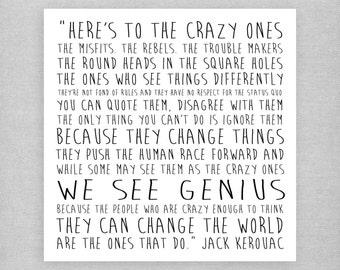We see genius - Jack Kerouac. Sweet, cute, inspirational, quote card.